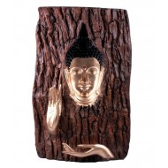 Wooden Base Look Buddha Log Wall Hanging