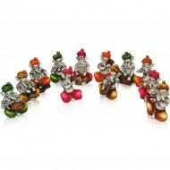 Set of 12 Multicolor Ganeshas Playing Instruments