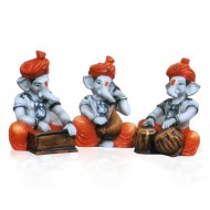 Set of 3 Ganesha Playing Different Instruments