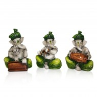 Set of 3 Go Green with Ganesha Idols