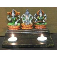 Slate of Laxmi Ganesh and Saraswati with T Lites