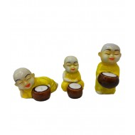 Set of 3 Colorful Monks Candle Stands