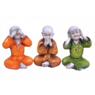 Tri-Color Gandhi Monks Idols