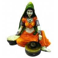 Multicolor Lady with Chakki Showpiece