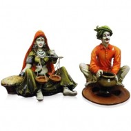 Set of 2 Rajasthani Idols making Pot and Taraju
