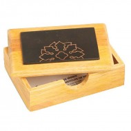 Visiting Card Box - wooden box with plate