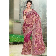 Beautiful Magenta Embroidered Saree