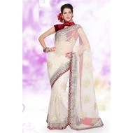 Designer Embroidered White Saree