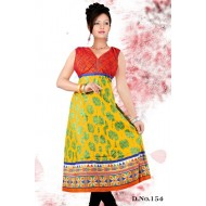 Yellow casual Wear anarkali Style kurti