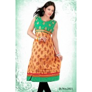 Orange casual wear anarkali style kurti