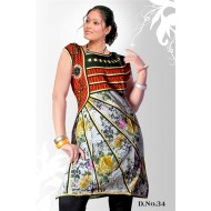 White green casual Wear readymade kurti