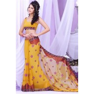Yellow Georgette Party Wear Sarees