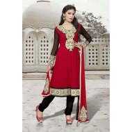 Red Party Wear Anarkali Dress Material