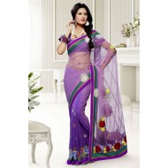 Designer Purple Party Wear Saree