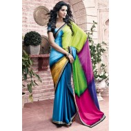 Appealing Party Wear Blue,Green Saree