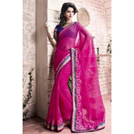 Appealing Party Wear Pink Saree