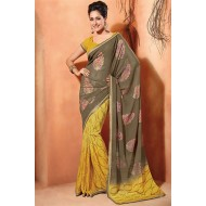 Printed Grey,Yellow Georgette Saree