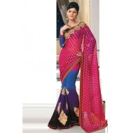 Charming Pink Georgette,Viscose Saree
