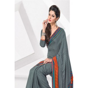 Printed Crape Silk Saree With Blouse