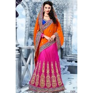 Beautiful Pink,Orange Embroidered Lehenga Saree