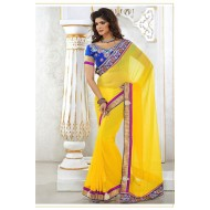 Embroidered Yellow Designer Saree