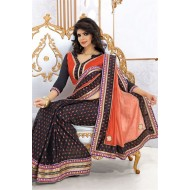 Embroidered Black,Orange Designer Saree