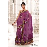 Purple Linen Jute Silk Embroidered Saree with Blou