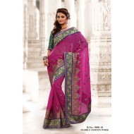 Pink Marble Chiffon Embroidered Saree with Blouse