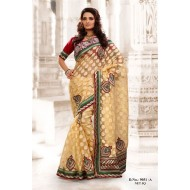 Beige Net Jacquard Embroidered Saree with Blouse