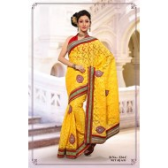 Yellow Net Jacquard Embroidered Saree with Blouse