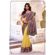 Yellow Organza silk Embroidered Saree with Blouse