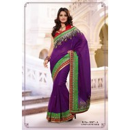 Purple Poly Linen Jute Silk Embroidered Saree with