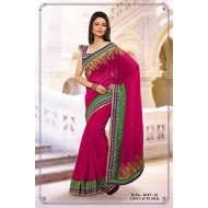 Rani Poly Linen Jute Silk Embroidered Saree with B