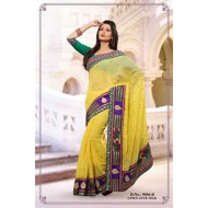 Yellow Polyester Linen Jute Silk Embroidered Saree