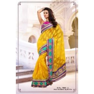Yellow Polyester Jacquard Embroidered Saree with B