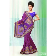 Purple Bhagalpuri Jacquard Silk Embroidered Saree