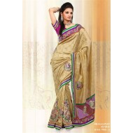 Beige Bhagalpuri Jacquard Silk Embroidered Saree w