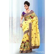 Yellow Bhagalpuri Silk Embroidered Saree with Blou
