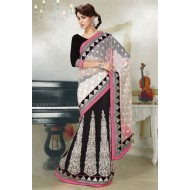 Stylish Black and Off White Georgette Designer Sar