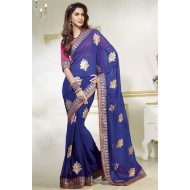 Stylish Blue Georgette Designer Saree
