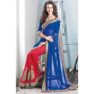 Designer Blue,Red Embroidered Saree