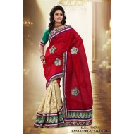 Cream,Maroon Banarasi Jute Silk Embroidered Saree