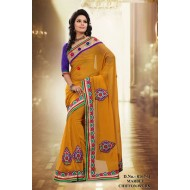 Yellow Ocher Marble Chiffon Embroidered Saree with