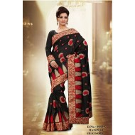 Black Manipuri Silk Embroidered Saree with Blouse