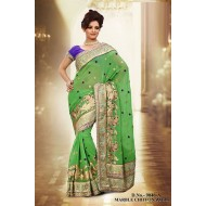 Green Marble Chiffon Embroidered Saree with Blouse
