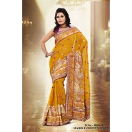 Yellow Marble Chiffon Embroidered Saree with Blous