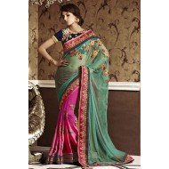 Green and Pink Embroidered Designer Saree