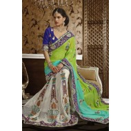 Green and Off White Embroidered Designer Saree