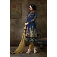Alluring Navy Blue Anarkali Dress Material