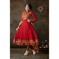 Alluring Red Anarkali Dress Material